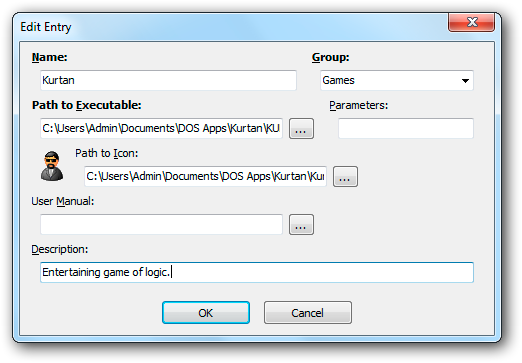 Screenshot of the Edit Entry dialog window